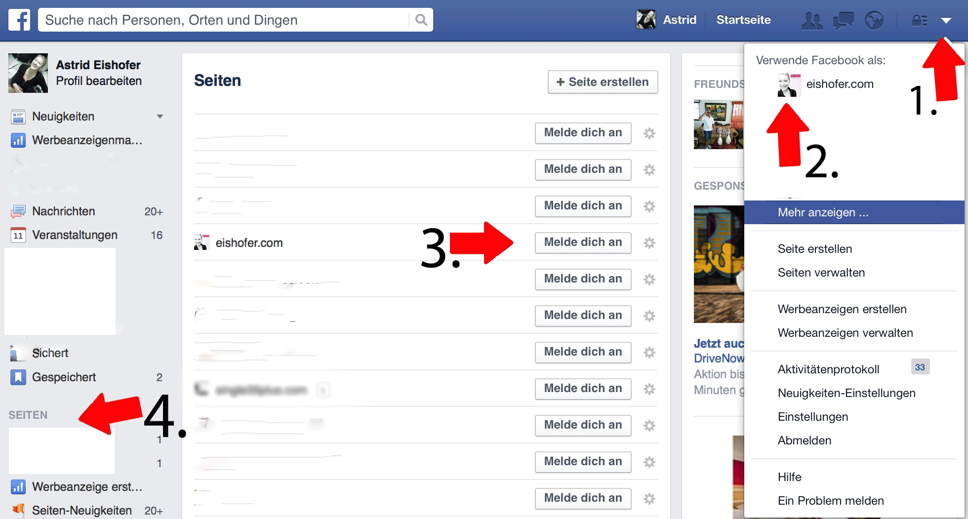facebook was tun wenn ich nicht mehr auf meine seite komme. Black Bedroom Furniture Sets. Home Design Ideas