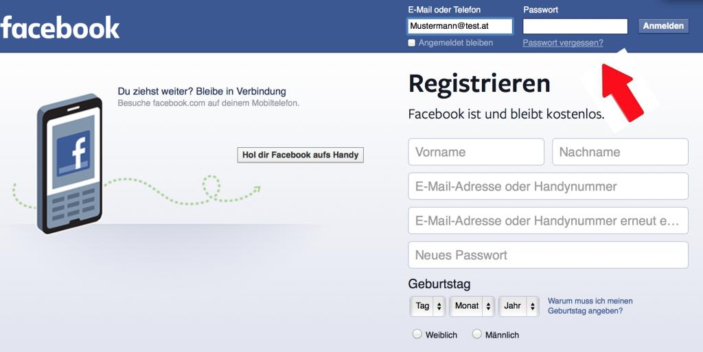 1 Facebook Passwort vergessen