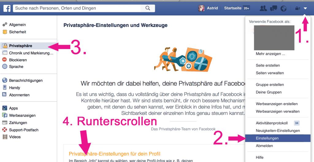 1 Freundschaftsanfragen Privatsphäre Facebook