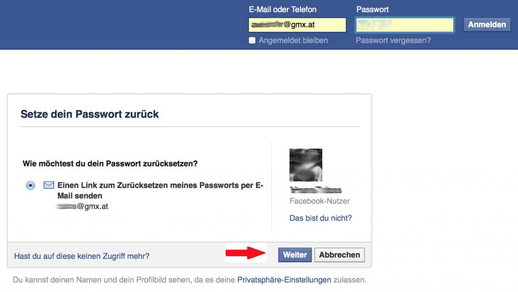 2 Facebook Passwort vergessen