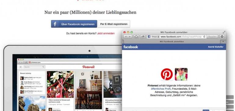 Pinterest Schritt 2: Jetzt können Sie wählen, wie Sie sich registrieren möchten: Über eine gültige Mail-Adresse oder über Ihr Facebook-Profil. Was auch immer Sie hier anklicken, Pinterest sagt Ihnen, was Sie als nächstes zu tun haben.