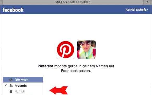 """Pinterest Schritt 3: Im Menüfenster für die Facebook-Registrierung via Facebook können Sie Ihr Publikum wählen. Entscheiden Sie, wer Ihre Inhalte sehen kann: """"Öffentlich"""" ist für jeden sichtbar, """"Freunde"""" für die User auf Ihrer Freundesliste, etc. In weiterer Folge klicken Sie auf OK."""