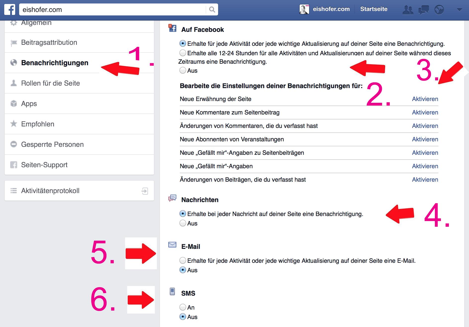 Benachrichtigungen Facebook