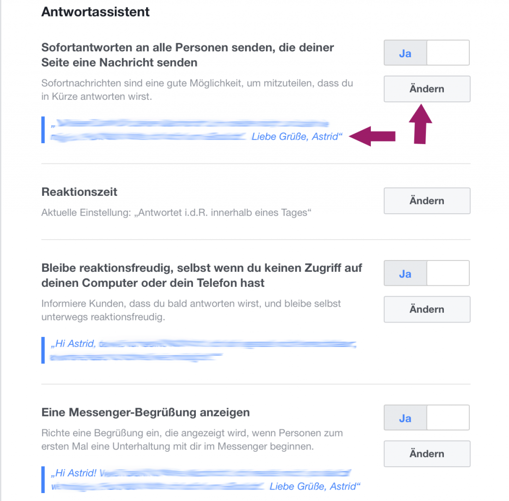 Facebook Antwortassistent; Facebook Funktionen