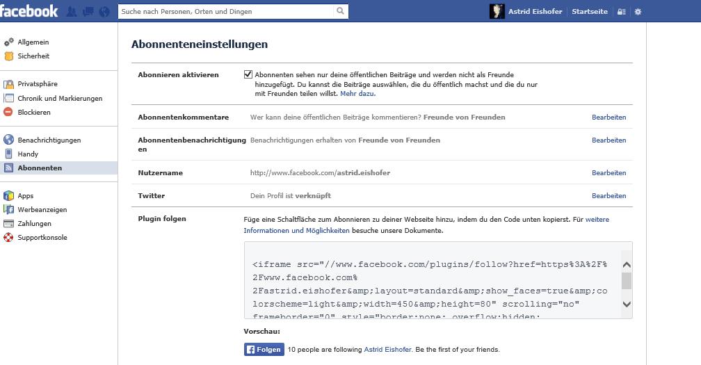 """Facebook: Abonnieren-Schaltfläche. Schritt 3: Jetzt klicken Sie in der linken Menü-Spalte auf """"Abonnenten"""""""
