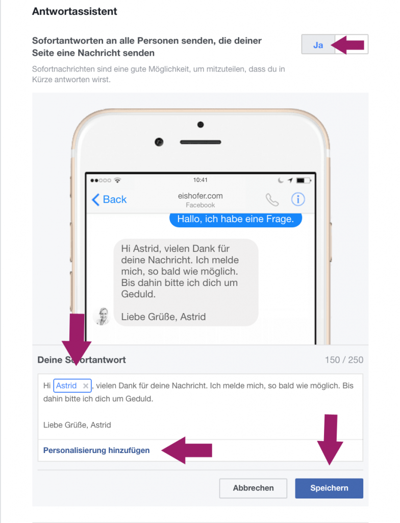 Facebook Antwortassistent ; Facebook Funktionen