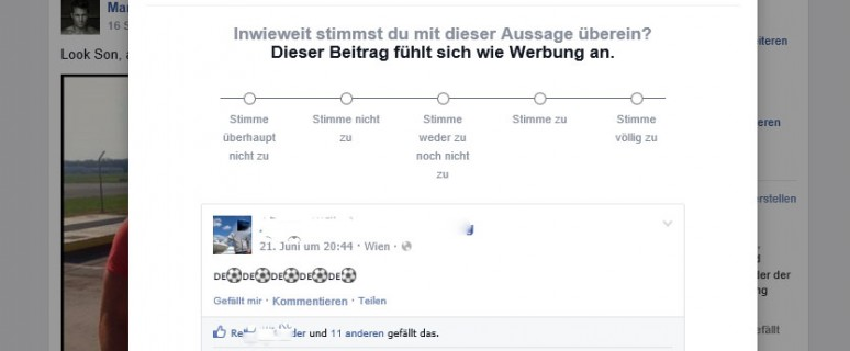 Facebook-Training Newsfeed Posts bewerten