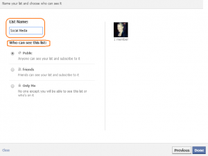 Schritt 3: Facebook Interessen-Liste erstellen. Privateinstellungen.