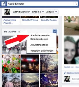 Facebook Abschnitte verwalten