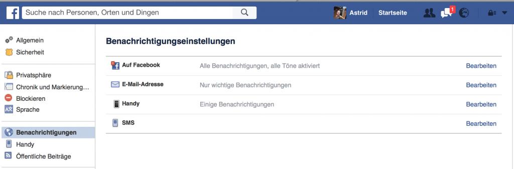 Facebook E-Mail Benachrichtigungseinstellungen