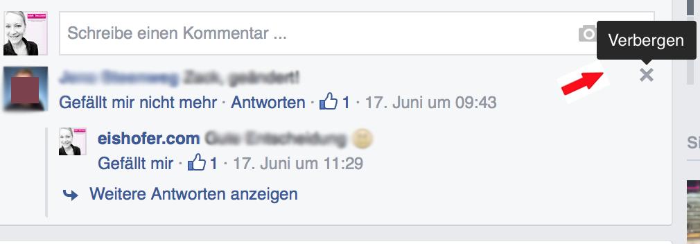 Facebook Beitrag verbergen