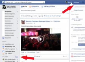 Facebook Bereiche auf der Startseite