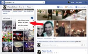 """Facebook: """"Bereich verbergen in Chronik"""""""