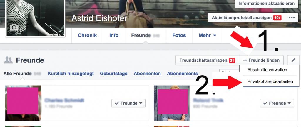 Facebook Freunde verbergen 2