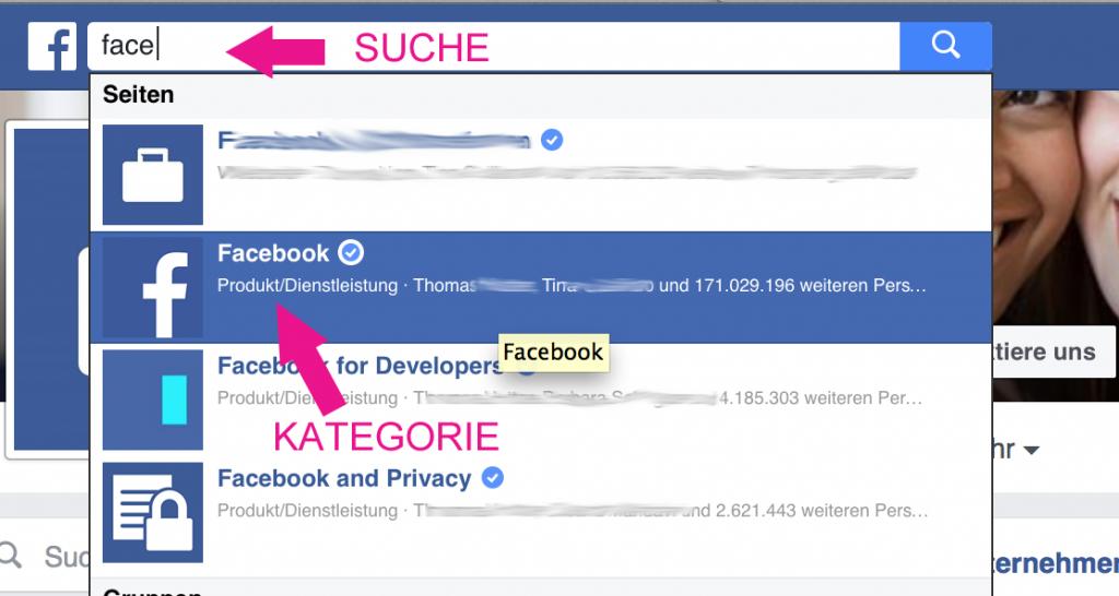 Facebook Kategorie Suchfunktion