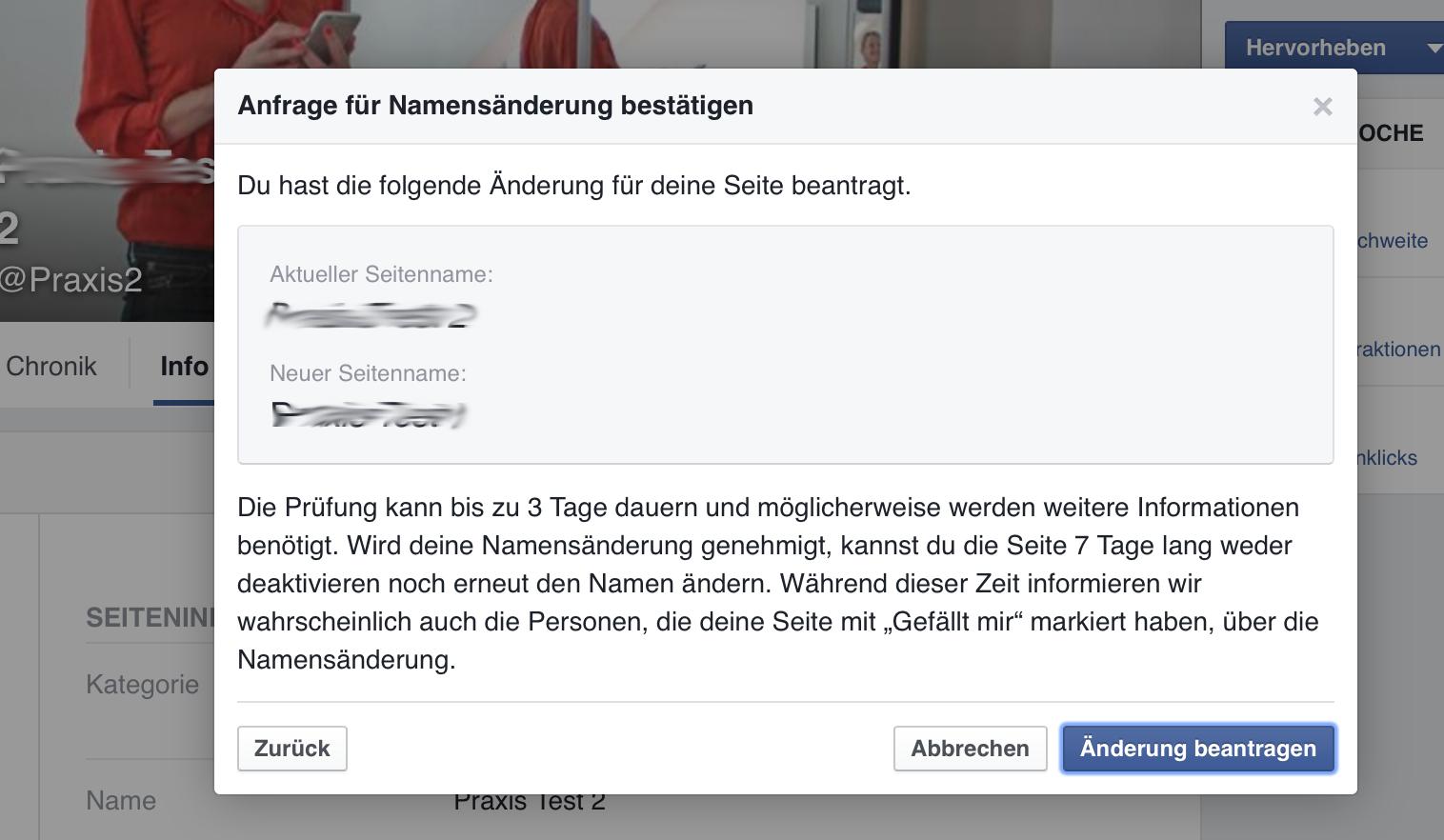 facebook seite namen Г¤ndern