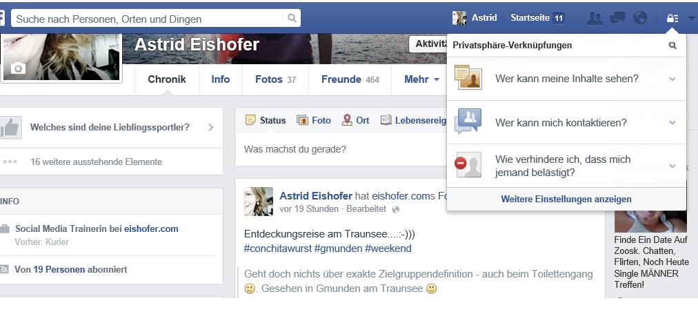 Variante 1: Facebook-Privatsphäre einstellen für alle Beiträge