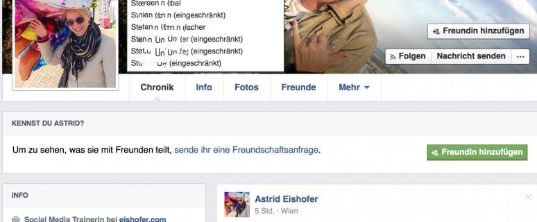 Facebook-Funktion: Profil anzeigen aus der Sicht von...