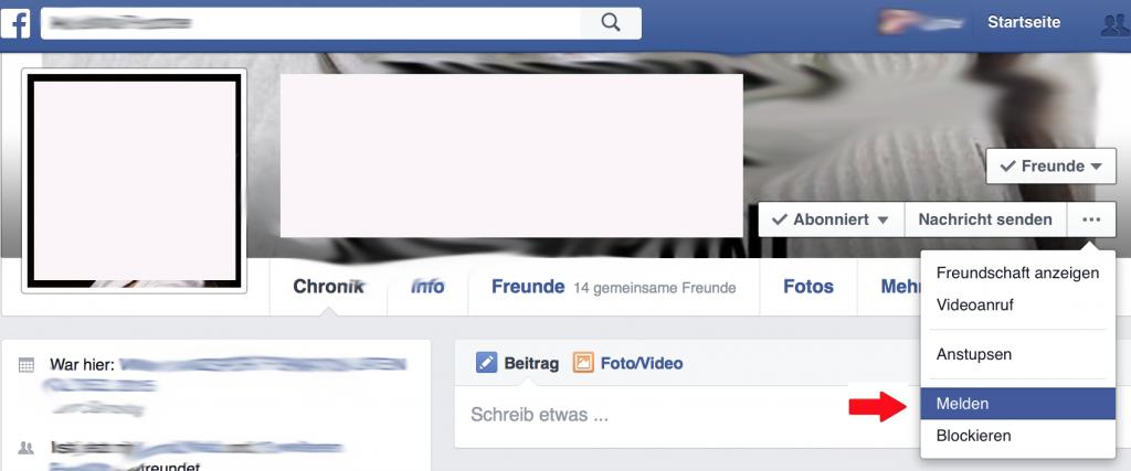 Facebook Account Melden