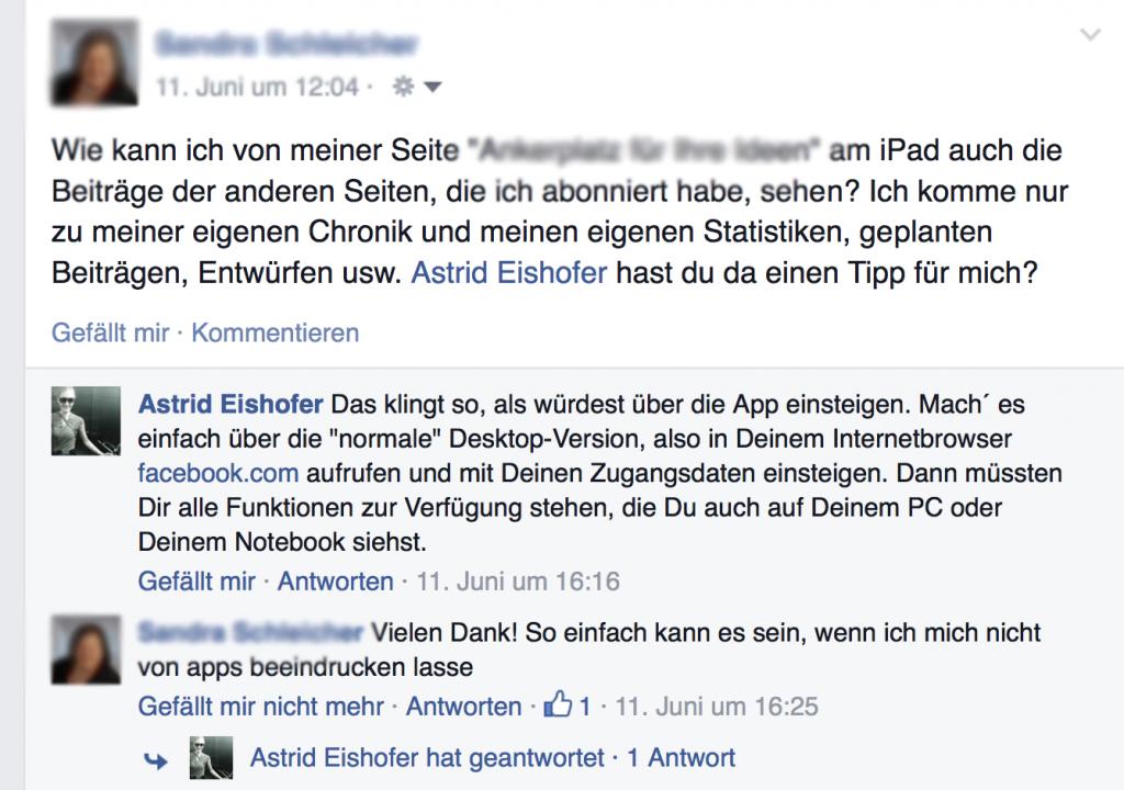 Facebook Seite vom iPad adminsitrieren