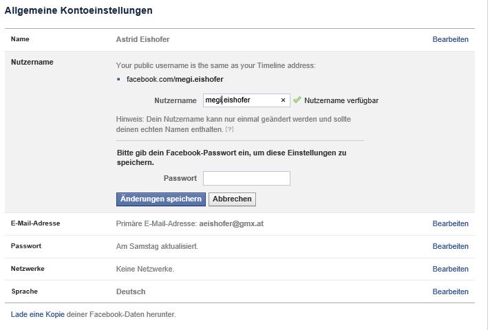 Facebook Privatprofil:  Username ändern