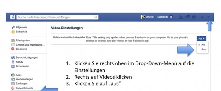 Facebook: Video Autostart deaktivieren