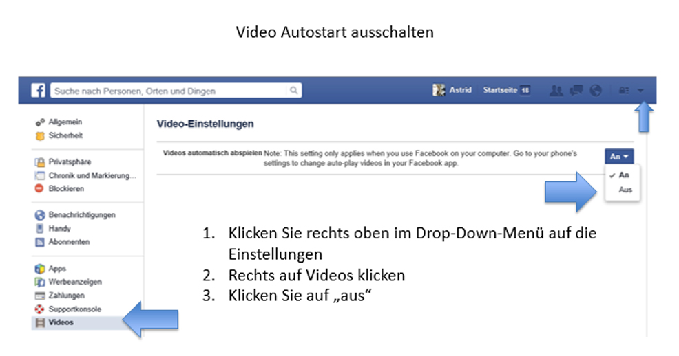 Facebook: Video Autostart deaktivieren