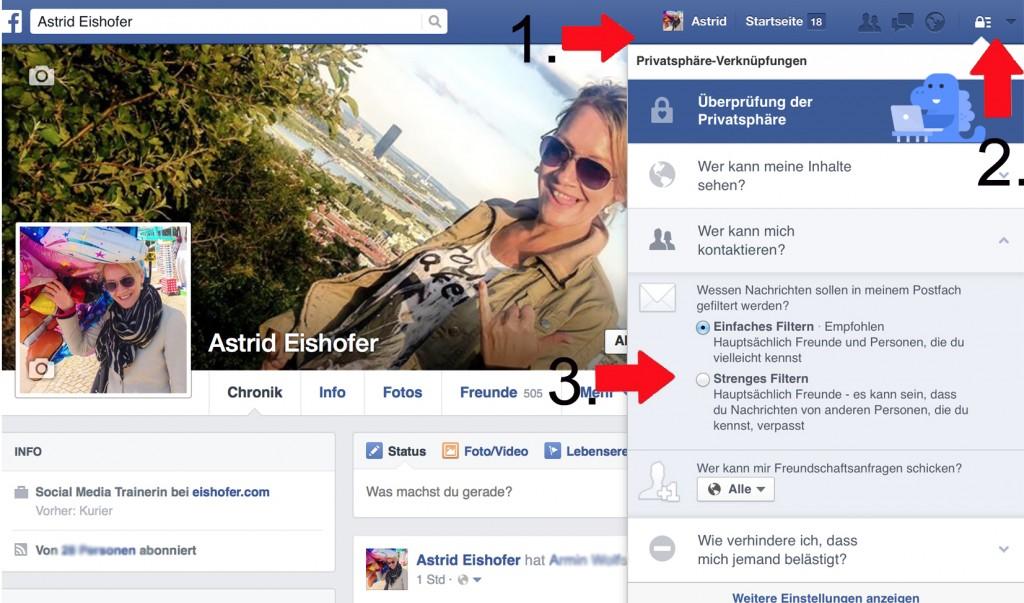 Facebook Privatsphäre: Wer darf mir Nachrichten schicken?