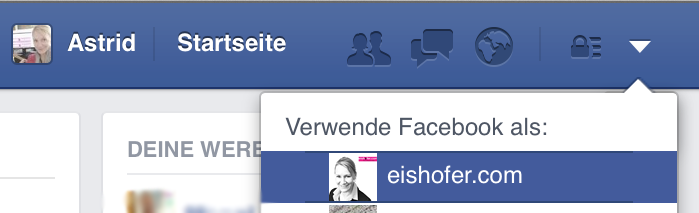 So können Sie zwischen ihrem privaten Facebook Profil und Ihrer Seite wechseln.