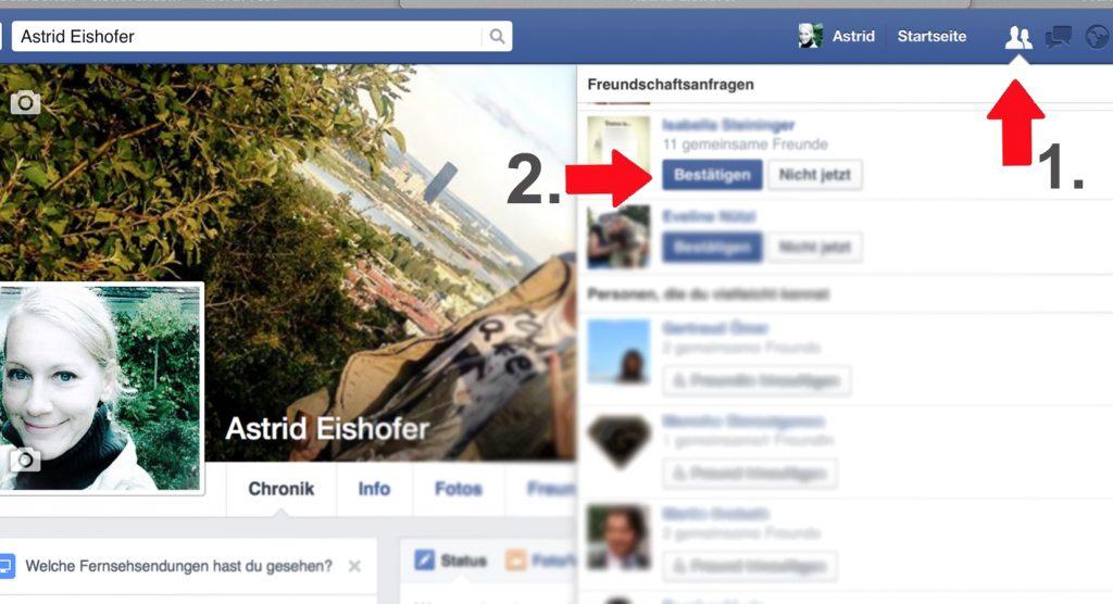 Facebook Funktion: Freundschaftsanfragen bestätigen