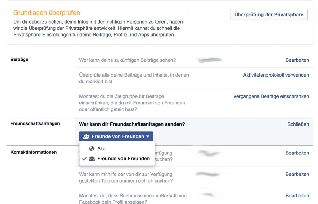 Freundschaftsanfragen 1 Facebook Privatsphäre
