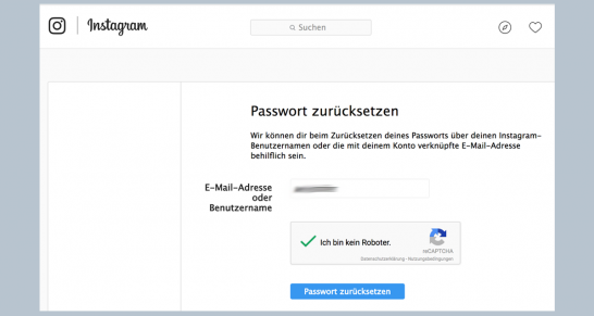 Instagram passwort ändern link