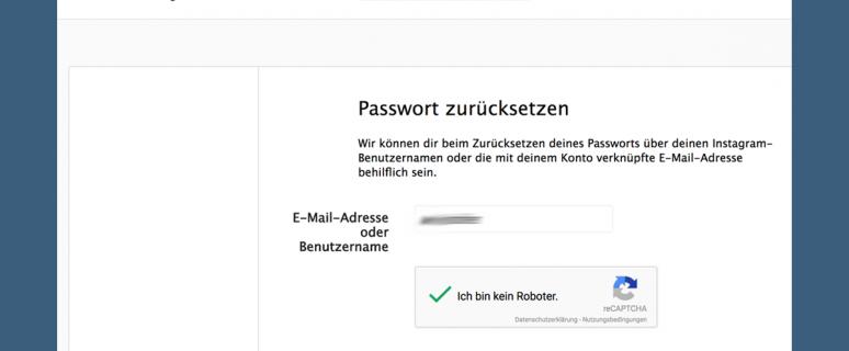 instagram passwort und email vergessen