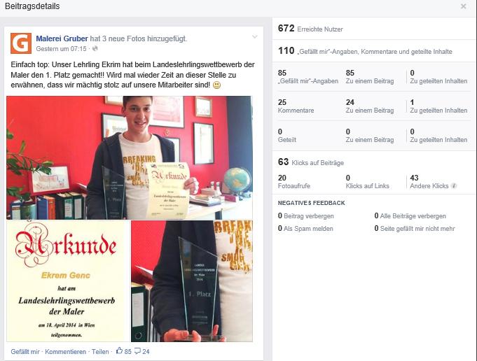 Organische Reichweite am Beispiel eines Facebook-Posts der Malerei Gruber