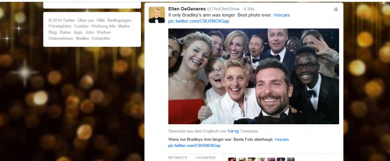 Oscar 2014 Selfi mit Ellen: Virales Marketing made in Hollywood!