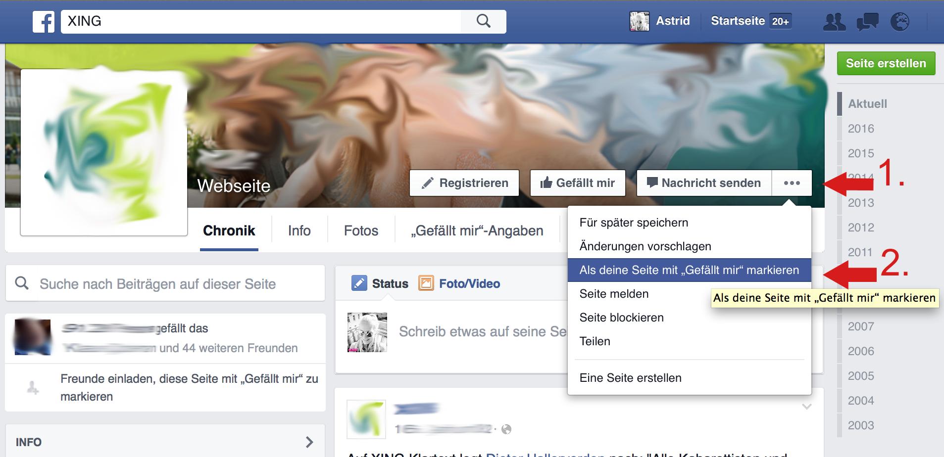 Facebook Seite Markieren