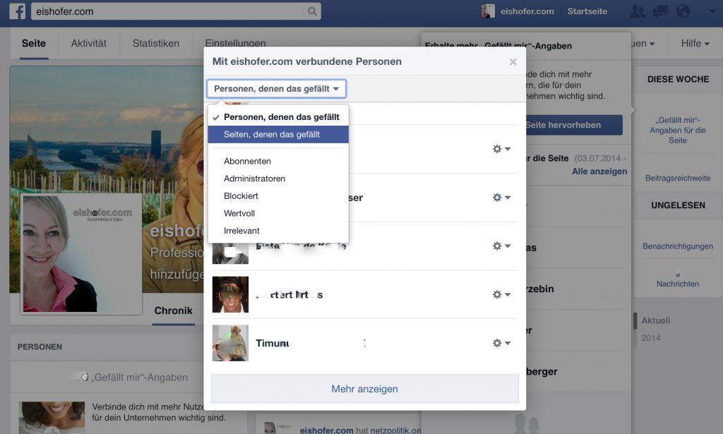 Welche Seiten haben Ihre Facebook-Seite ge-liked?