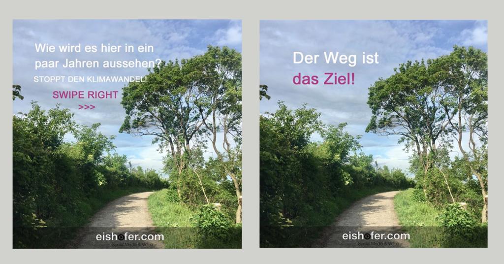 1 Bild, 2 verschiedene Aussagen. Bild Text Kombtinonen beim Posten.