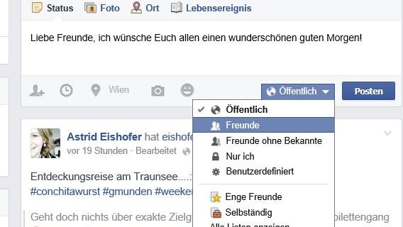 Facebook-Privatsphäre für Posts festlegen